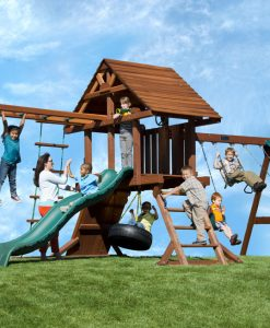 Two Ring Deluxe Swing Set with Monkey Bars